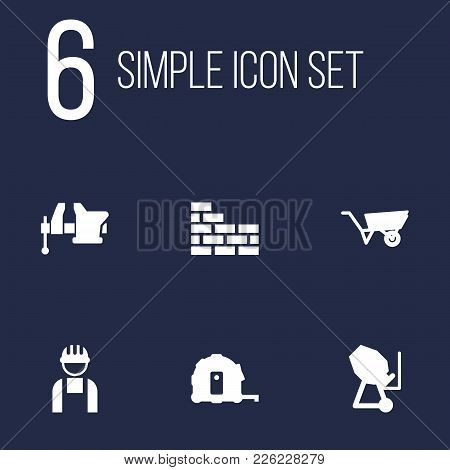 Set Of 6 Architecture Icons Set. Collection Of Tape Measure, Concrete Mixer, Brickwork And Other Ele