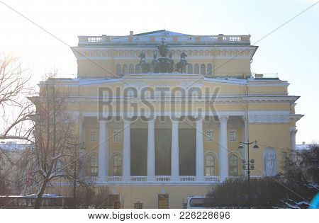 Alexandrinsky Theatre Building In Saint-petersburg, Russia. Russian State Pushkin Academy Drama Thea