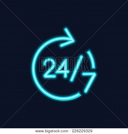 Neon Icon Of Twenty Four Hour Service Sign. Overtime, All Day Shop, Twenty Four Seven Support. Infor
