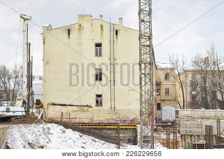 Construction Site, Building And Cranes, Blue Sky Background