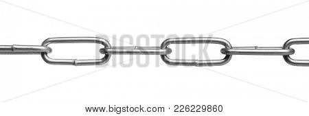 Close up of new steel chain isolated on white