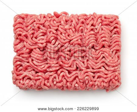 Top view of raw minced beef meat isolated on white