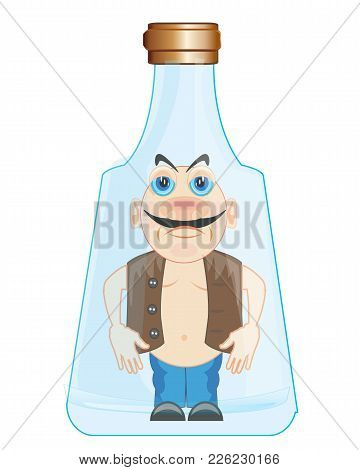 Persons Inwardly Empty Bottle From Glass.vector Illustration