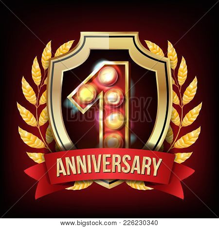 1 Anniversary Banner Vector. One Year Age, First Celebration. Shining Digit Sign. Gold Number One. L
