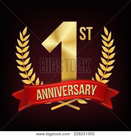 1 Year Anniversary Banner Vector. One Age, First Celebration. Shining Gold Sign. Number One. Laurel