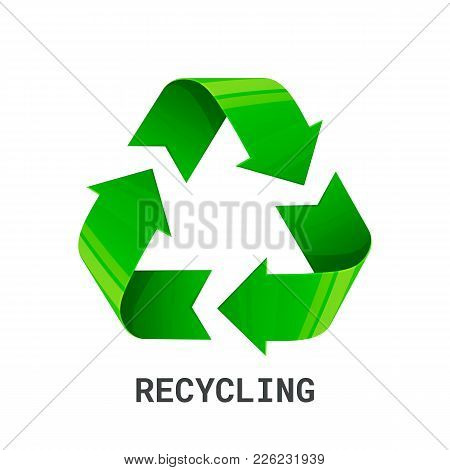 Recycling. Green Recycle Eco Symbol. Isolated On White Background. Recycled Arrows Sign. Cycle Recyc