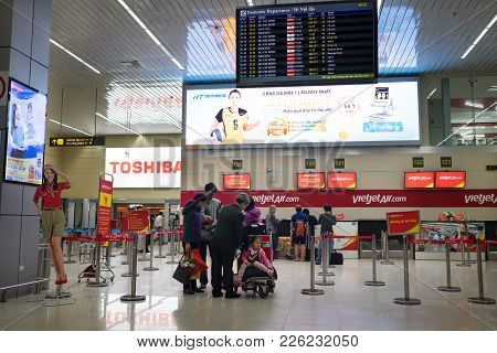 Hanoi, Vietnam - Mar 26, 2016:  Flight Check In Counters Of Vietjet Air Airlines At T1 International