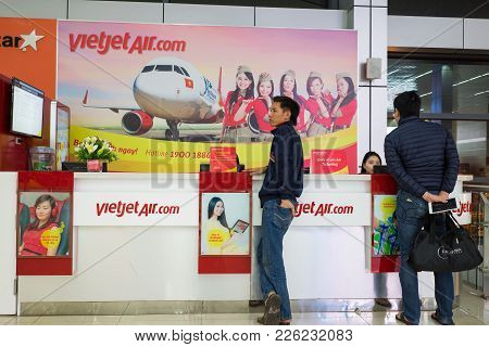 Hanoi, Vietnam - Mar 26, 2016: Ticket Counter Of Jetstar Pacific Airlines At T1 International Termin