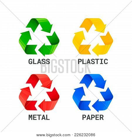 Different Colored Recycle Waste Signs. Waste Types Segregation Recycling. Metal Plastic, Paper, Glas