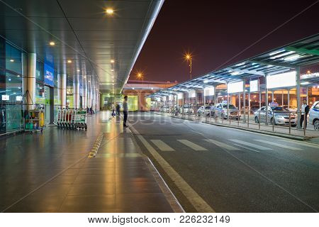 Hanoi, Vietnam - Mar 26, 2016: Night View Of Passenger Pickup Area In T1 International Terminal, Noi