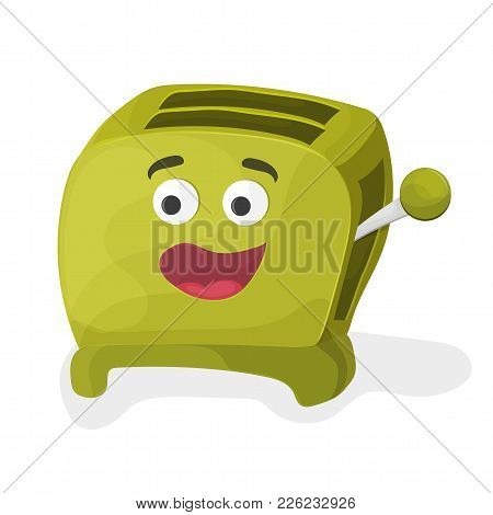 Illustration Of A Cartoon Toaster On A White Background