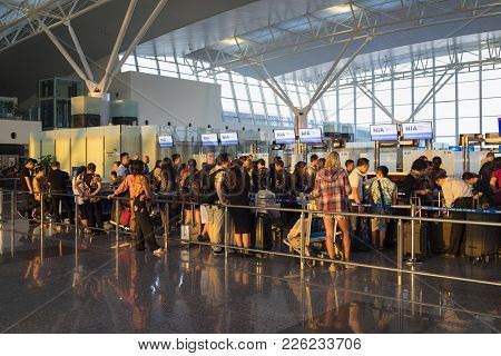 Hanoi, Vietnam - July 12, 2015: Crowded People Waiting At Check-in Area At Noi Bai International Air