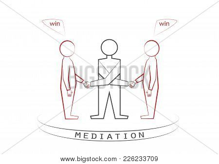 Mediator And Two Persons Handshaking Isolated On The White Background, Winner - Winner Principle, Wi