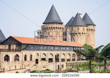 Da Nang, Vietnam - Apr 2, 2016: Architecture Of Top Castle Building In Ba Na Hills, Top Tourism Site