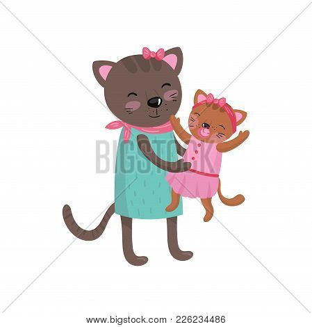 Smiling Mother Cat Holding Her Little Kitten. Happy Feline Family Portrait. Cute Cartoon Characters.