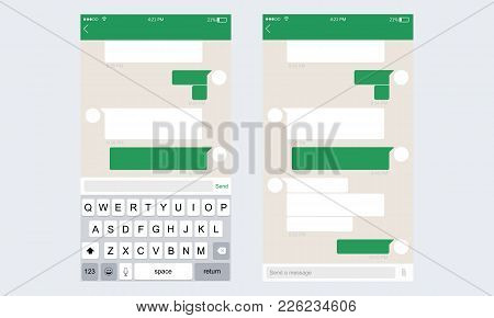 Mobile Ui Kit Messenger. Chat App Template Whith Mobile Keyboard. Vector Illustration