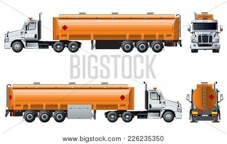 Vector Realistic Tanker Truck Template Isolated On White. Available Eps-10 Separated By Groups And L