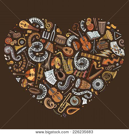 Set Of Vector Cartoon Doodle Classic Musical Instruments And Objects Collected In A Heart Classical