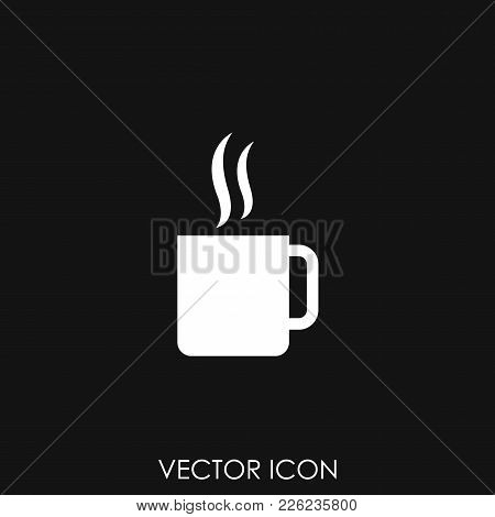 Coffee Glass Sign Icon. Hot Coffee Button. Hot Tea Drink With Steam. Takeaway. Gray Circle Button Wi