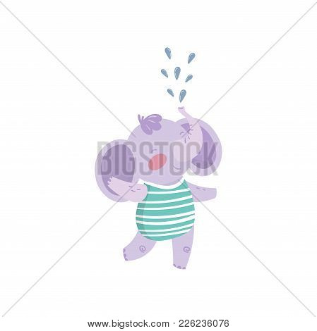 Funny Purple Elephant Standing And Spraying Water With His Trunk. Cute Humanized Animal With Big Ear