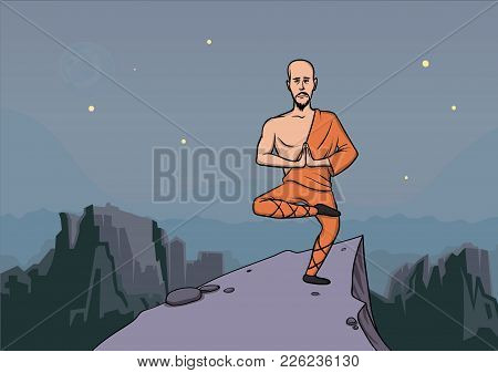 Man In The Clothes Of A Monk, Master Of Martial Arts Practicing Wushu In The Mountains. Vector Illus