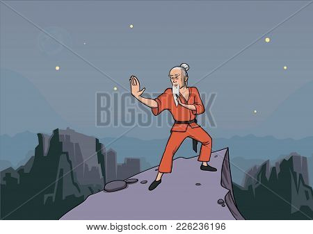 Old Gray-haired Man, Master Of Martial Arts Practicing Wushu In The Mountains. Vector Illustration.