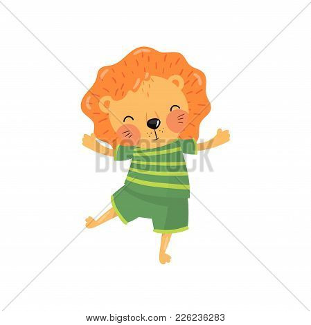 Cartoon Character Of Baby Lion In Green Striped T-shirt And Shorts. Funny Wild Animal With Orange Ma