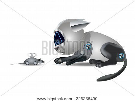 Cat Robot And Mouse, Funny Toy, On White Background, 3d Illustration