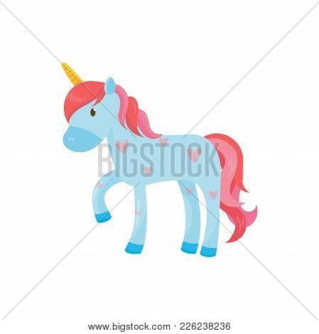 Cartoon Illustration Of Blue Pegasus Or Unicorn. Magical One-horned Animal With Pink Mane And Tail.