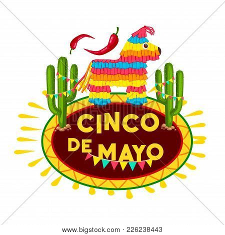 Cinco De Mayo Fiesta Party Pinata Icon Of Mexican Holiday Greeting Card. Colorful Paper Figure Of Al