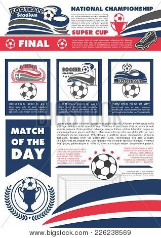 Soccer Tournament Cup Poster For Football Championship Or Fan Club And Sports League Team Game. Vect