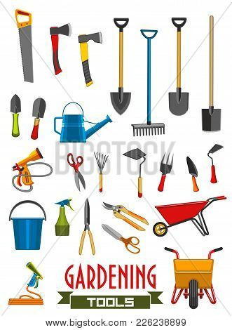 Gardening Tools Flat Isolated Icons Of Farming Or Farmer Garden Instruments. Vector Set Of Rake Or P