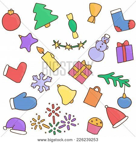 New Year Icons Set. Christmas Stickers. Collection Of Symbol Eve. Fir-tree, Snowman, Candy, Gift, Pr