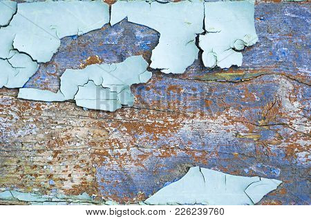 Peeling Paint, Texture Background Of Light Blue Peeling Paint On The Wooden Texture Surface, Flaked