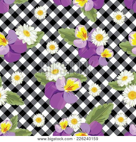 Floral Seamless Pattern. Pansies With Chamomiles On Black And White Gingham, Checked Background. Vec