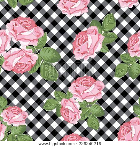 Floral Seamless Pattern. Pink Roses On Black And White Gingham, Chequered Background. Vector Illustr