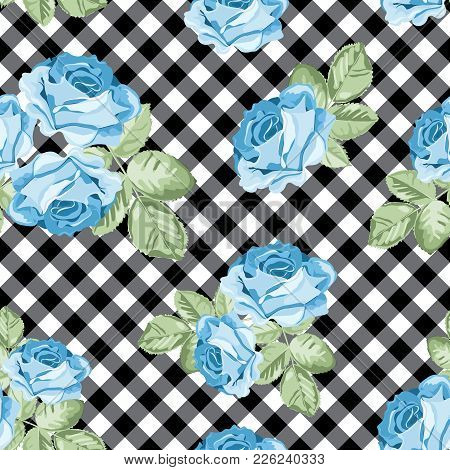 Floral Seamless Pattern. Blue Roses On Black And White Gingham, Chequered Background. Vector Illustr