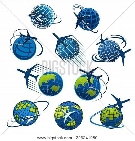 Airplane And World Globe Icon Templates For Travel Agency Or Air Post Mail Delivery And Aviation Log
