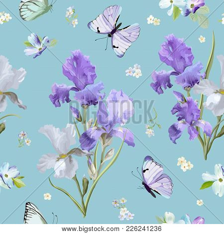 Floral Seamless Pattern With Purple Blooming Iris Flowers And Flying Butterflies. Watercolor Nature