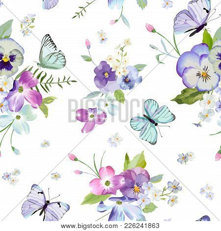 Floral Seamless Pattern With Blooming Flowers And Flying Butterflies. Watercolor Nature Background F