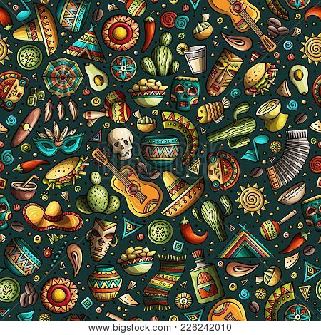 Cartoon Hand-drawn Latin American, Mexican Seamless Pattern. Lots Of Symbols, Objects And Elements.