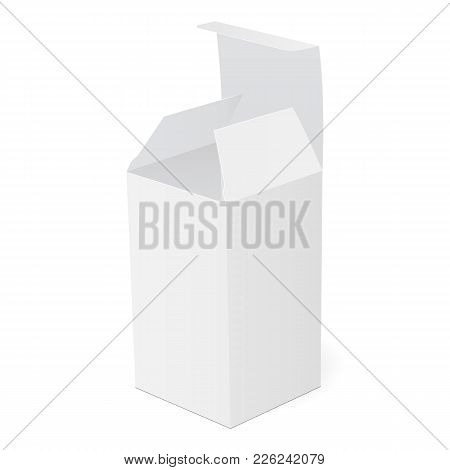 White Blank Packaging Box For Drug, Tablets Or Ointment - Half Side View. Rectangular Open Box With