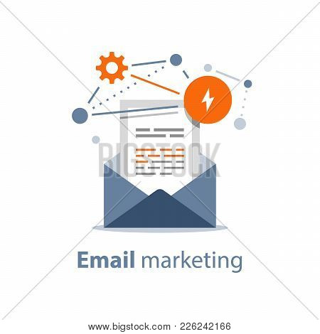 Email Marketing Strategy, Newsletter Concept, Opened Envelope, Writing Letter, Summary News Rss Serv