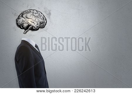 Brain Headed Businessman Standing On Dark Background With Copy Space. Brainstorm And Intellect Conce