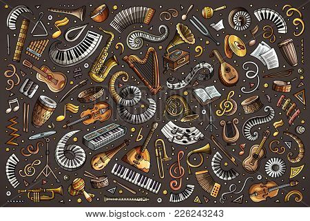 Colorful Vector Hand Drawn Doodles Cartoon Set Of Classical Musical Instruments Objects And Elements
