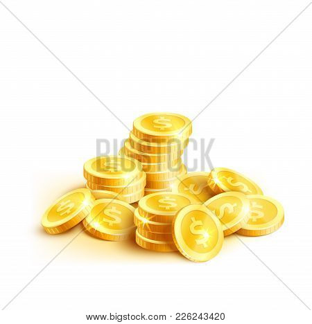 Golden Coins Or Gold Cent Coin Pile Icon. Vector Isolated Symbol Of Golden Dollar Coins Money Stack
