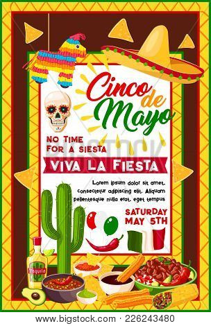 Cinco De Mayo Mexican Fiesta Party Banner With Traditional Holiday Symbols. Sombrero Hat, Chili Pepp