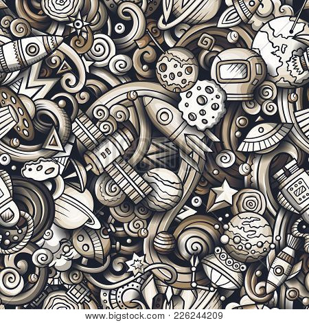 Cartoon Cute Doodles Space Seamless Pattern. Monochrome Detailed, With Lots Of Objects Background. A