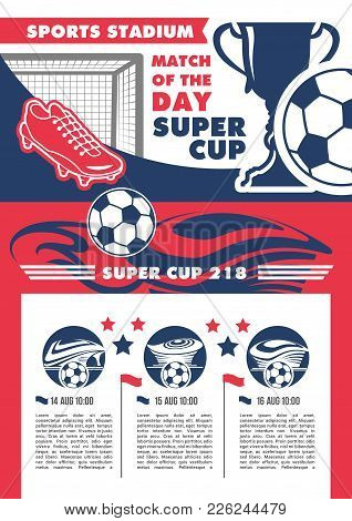 Soccer Match Tournament Or Football Championship Cup Poster For Fan Club And Sports League Team Game