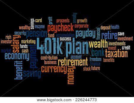 401K Plan Word Cloud Concept 3